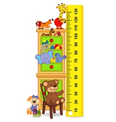 Wooden cabinet with toys measure child growth vector