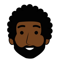 young black man head avatar character vector image
