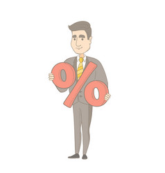 young caucasian businessman holding percent sign vector image