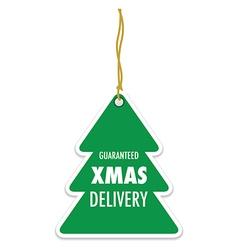 christmas tree green badge vector image