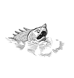 fish monster isolated vector image vector image