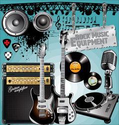 Rock music equipment vector