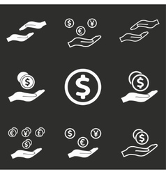 Salary icon set vector image vector image