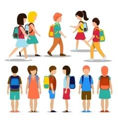 Kids going to school vector