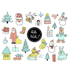 Set of Christmas and New Year doodle holiday vector image vector image