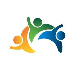 Three people teamwork vector image
