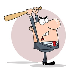 Angry Businessman With Bat vector image vector image
