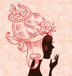 beautiful woman silhouette with flowers vector image vector image