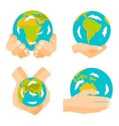 Globe earth in hand icon vector