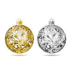 Gold and silver Openwork Christmas balls vector image vector image