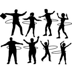 Hula hoop people vector image