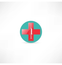 Medical syringe and cross vector image vector image