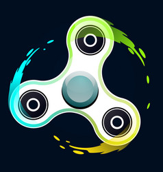 realistic white fidget spinner with colorful vector image vector image