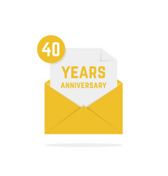 40 years anniversary icon in golden letter vector image