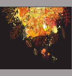 background of paint splashes and autumnal leaves vector image vector image