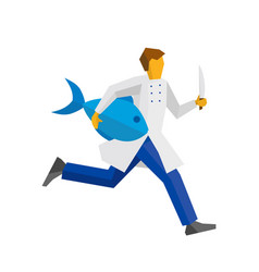 chef runs with knife and big fish vector image