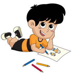 kid drawing a pictures vector image
