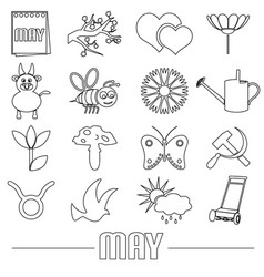 may month theme set of simple outline icons eps10 vector image