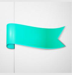 Realistic shiny cyan ribbon isolated vector