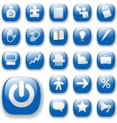shiny blue control button vector image vector image