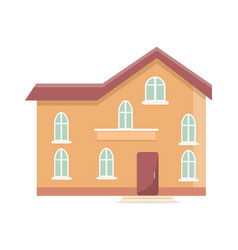 three storey building with oval windows and door vector image vector image
