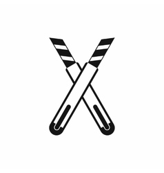 Two construction utility knives icon simple style vector image