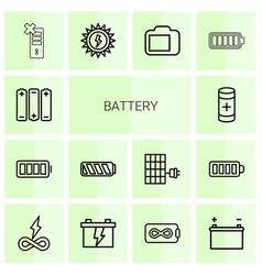 14 battery icons vector