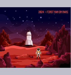 astronaut or spaceman as first man on mars vector image