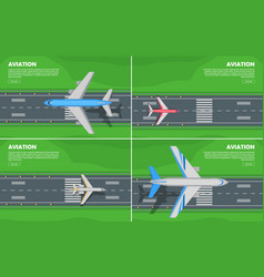 Aviation conceptual flat style web banner vector