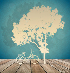 background with bicycle under tree vector image