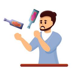 Bartender juggler icon cartoon style vector