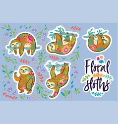 Beautiful floral sloths sticker set vector