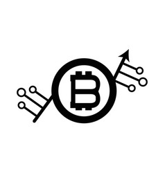 Bitcoin currency sign with circuits network vector