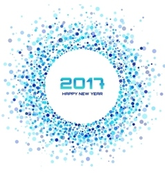 Blue Circle New Year 2017 frame white Background vector image