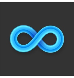 Blue infinity symbol icon from glossy wire vector