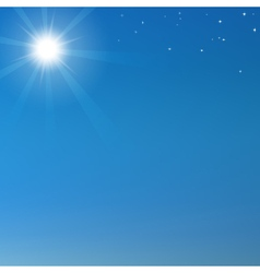 Blue sky background with shining sun and stars vector