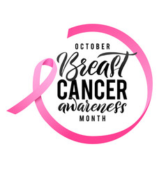 breast cancer awareness calligraphy poster design vector image