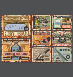 car accessories rusty vehicle spare parts vector image
