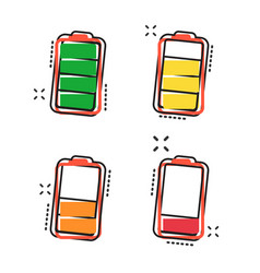 cartoon battery icon in comic style battery vector image
