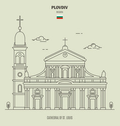 cathedral st louis in plovdiv vector image