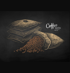 Chalk drawn sketch sacks with coffee vector