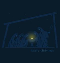 Christmas nativity scene vector