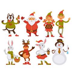 christmas santa friends cartoon characters vector image