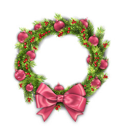 Christmas wreath with pink balls and bow new year vector