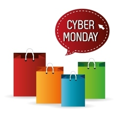 collection bag shopping cyber monday icon vector image
