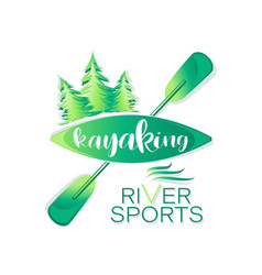 Coniferous forest kayaking river sport vector