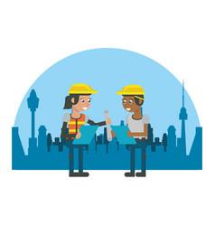 constuction workers geometric cartoons vector image