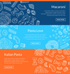 Contoured hand drawn pasta horizontal vector