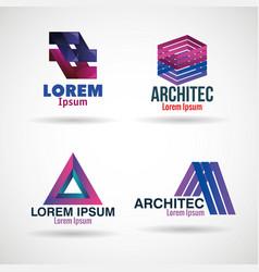 Corporation emblems set icons vector