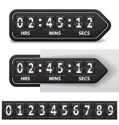 Countdown black mechanical timer vector
